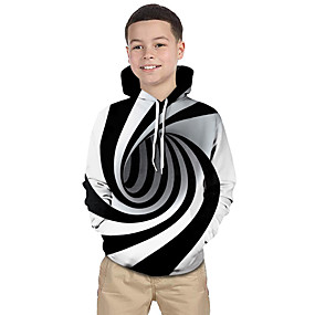 cheap Christmas Deals-Kids Toddler Boys' Active Basic Black & White Fantastic Beasts Striped Geometric Print Print Long Sleeve Hoodie & Sweatshirt White