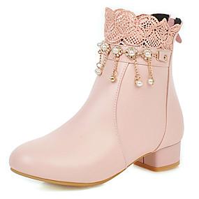 preiswerte Schuhe für Kinder-Mädchen Schuhe für das Blumenmädchen PU Stiefel Große Kinder (ab 7 Jahren) Perle Weiß / Schwarz / Rosa Winter / Mittelhohe Stiefel / Party & Festivität / Gummi