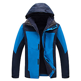 cheap Camping, Hiking & Backpacking-Cikrilan Men's Hiking Jacket Autumn / Fall Winter Outdoor Patchwork Waterproof Windproof Warm Comfortable Top Camping / Hiking / Caving Traveling Winter Sports Black Red Army Green