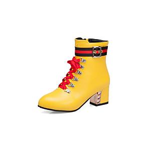 billige Mote Boots-Dame Støvler Tykk hæl Spisstå Nagle / Spenne PU Ankelstøvler Vintage / Søt Gange Høst vinter Svart / Hvit / Gul