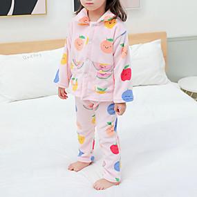 preiswerte Unterwäsche & Socken für Babys-2pcs Baby Mädchen Zitronengelb Druck Schnalle / Druck / Grundlegend Schlafanzüge Rosa