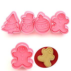 povoljno Predbožićna-4pcs roditelj-dijete božićni diy fondant keramički kalupi kolačići alati za ukrašavanje torta