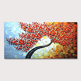 cheap Wall Art New Arrivals-Oil Painting Hand Painted - Floral / Botanical Abstract Landscape Modern Stretched Canvas