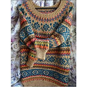 preiswerte Damen Oberteile-Damen Geometrisch Langarm Pullover Pullover Jumper Purpur / Blau / Rote S / M / L