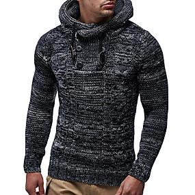 preiswerte Herrenmode-Herrn Solide Langarm EU- / US-Größe Pullover Pullover Jumper, Mit Kapuze Winter Schwarz / Kamel US36 / UK36 / EU44 / US38 / UK38 / EU46 / US40 / UK40 / EU48