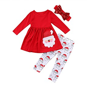 cheap Black Friday-Kids Girls' Active Festival Print Christmas Long Sleeve Cotton Clothing Set Red
