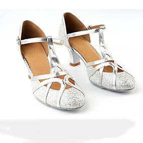 저렴한 댄스 신발-여성용 댄스 신발 새틴 모던 슈즈 스플리싱 힐 큐반 힐 블랙 / 다크 - 브라운 / 골드