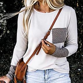 preiswerte Damenbekleidung-Damen Solide T-shirt Weiß