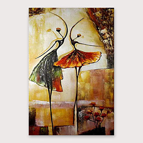 cheap Wall Art New Arrivals-Oil Painting Hand Painted - Abstract People Modern Stretched Canvas
