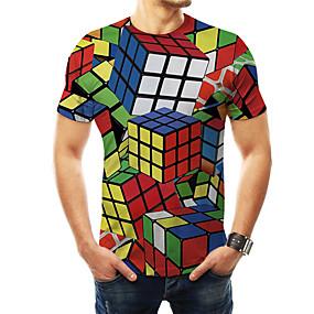 preiswerte Herrenmode-Herrn 3D / Regenbogen / Grafik - Grundlegend / Übertrieben T-shirt Druck Zauberwürfel Regenbogen