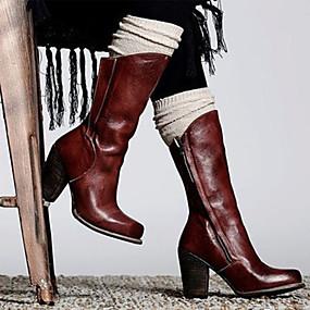 preiswerte Komfort-Schuhe-Damen Stiefel Komfort Schuhe Blockabsatz Runde Zehe PU Mittelhohe Stiefel Retro / Freizeit Frühling & Herbst / Herbst Winter Schwarz / Burgund / Party & Festivität