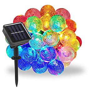 cheap Light Strips & Strings-1pcs 50 LEDS 7m Crystal Ball Solar Lamp Power LED String Fairy Lights Solar Garlands Garden Christmas Decor For Outdoor