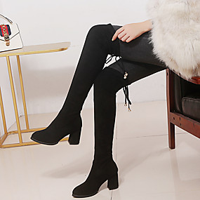 billige Mote Boots-Dame Støvler Over-The-Knee Boots Tykk hæl Rund Tå Imitasjonsperle Semsket lær / PU Lårhøye støvler Høst vinter Svart