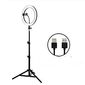 preiswerte Beleuchtung, Studio und Zubehör-26cm LED Selfie Ringlicht 24w 5500k Studio Fotografie Foto füllen Ringlicht mit Stativ für iPhone Smartphone Make-up