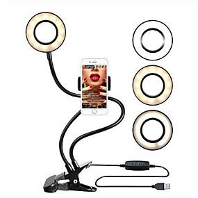 preiswerte Beleuchtung, Studio und Zubehör-Selfie Ringlicht mit Handyhalterung Selfie Ringlicht für Live Stream Telefon Clip Halter verstellbare Schreibtischlampe Make-up Licht
