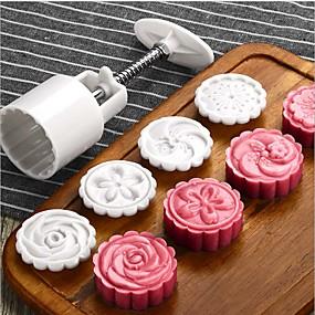 billige Bakeformer-5stk blomster mooncake mold midt på høsten festival håndtrykk mold diy verktøy cookie cutter kake bakeware 1 fat 4 frimerker sett