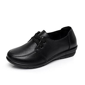 voordelige Damesschoenen met platte hak-Dames Platte schoenen Blokhak Ronde Teen Nappaleer Korte laarsjes / Enkellaarsjes Informeel Wandelen Herfst Zwart