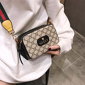 cheap Shoes & Bags-Women's Pattern / Print PU Crossbody Bag Color Block Black / Red / Dark Coffee