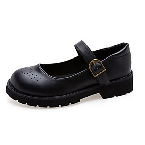 voordelige Damesschoenen met platte hak-Dames Platte schoenen Lage hak Ronde Teen PU Informeel Herfst Zwart / Bruin