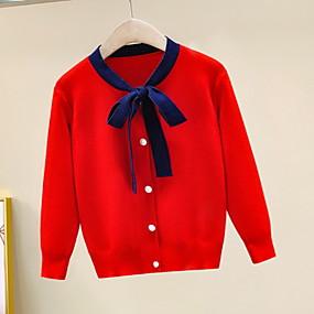 preiswerte Pullover-Kinder Mädchen Aktiv Solide Gestreift Schleife Langarm Pullover & Cardigan Gelb