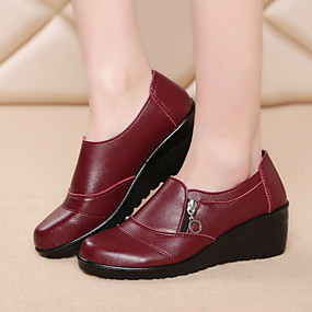 voordelige Damesschoenen met platte hak-Dames Platte schoenen Platte hak Ronde Teen PU Herfst winter Zwart / Geel / Rood