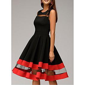 preiswerte Damenbekleidung-Damen Übergrössen Party Schlank Hülle Kleid Solide Knielang