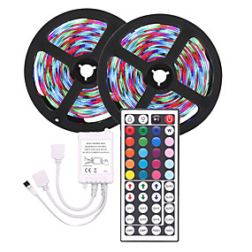 cheap Fill Your Needs-LED Strip Light  (2*5M)10M 3528 RGB 600led Strips Lighting Flexible Color Changing with 44 Key IR Remote Ideal for Home Kitchen Christmas TV Back Lights DC 12V