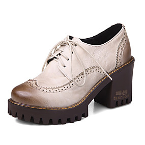 voordelige Dames Oxfords-Dames Oxfords Blokhak Ronde Teen PU Herfst winter Zwart / Bruin / Rood