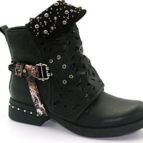 preiswerte Damenschuhe-Damen Stiefel Komfort Schuhe Flacher Absatz Runde Zehe Mikrofaser Booties / Stiefeletten Herbst Winter Schwarz / Gelb / Grau