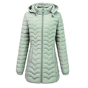 preiswerte Damenbekleidung-Damen Solide Daunenjacke, Polyester Schwarz / Wein / Rosa L / XL / XXL