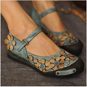 voordelige Damesschoenen met platte hak-Dames Platte schoenen Platte hak Ronde Teen PU Lente zomer Bruin / Groen / Rood