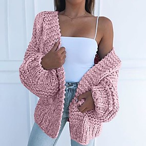 cheap Women's Sweaters-Women's Solid Colored Long Sleeve Loose Cardigan Sweater Jumper, V Neck Black / Light Blue / Blushing Pink S / M / L