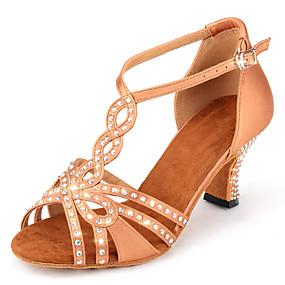 ราคาถูก Dance Shoes-สำหรับผู้หญิง รองเท้าเต้นรำ ซาติน ลาติน หินประกาย / หัวเข็มขัด / แสงระยิบระยับ ส้น ส้นCuban ตัดเฉพาะได้ Almond
