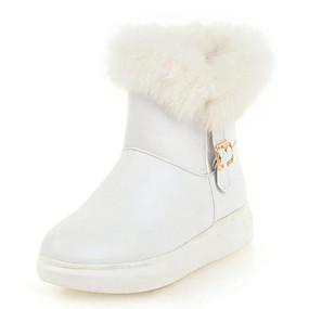 preiswerte Damenschuhe-Damen Stiefel Flacher Absatz Runde Zehe PU Booties / Stiefeletten Freizeit / Süß Winter Schwarz / Weiß / Rosa