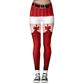 preiswerte Hosen & Röcke für Damen-Damen Weihnachten Schlank Leggins Hose - 3D-Druck Druck Rote S M L