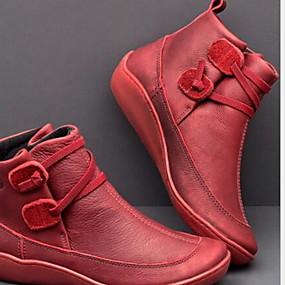 baratos Sapatos Confortáveis-Mulheres Botas Sapatos Confortáveis Sem Salto Ponta Redonda Couro Ecológico Botas Curtas / Ankle Outono & inverno Marron / Vermelho / Azul