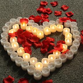 preiswerte Haus & Garten-12 Stück Flammenlose Kerzen Warmes Weiß Knopf Batteriebetrieben Kreativ 5 V
