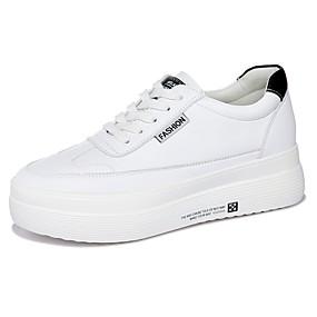voordelige Damessneakers-Dames Sneakers Creepers Ronde Teen Microvezel Korte laarsjes / Enkellaarsjes Informeel Wandelen Lente & Herfst Zwart / Goud / Kleurenblok