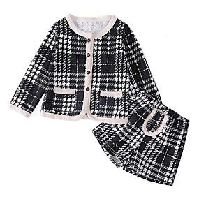 preiswerte Baby & Kinder-Kinder Mädchen Grundlegend Schachbrett Langarm Kleidungs Set Schwarz
