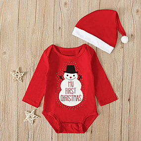 cheap Sale-Baby Boys' Active / Basic Santa Claus Solid Colored / Christmas Long Sleeve Cotton Romper Red