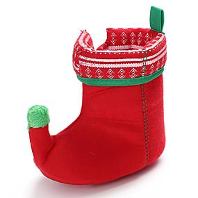preiswerte Schuhe für Kinder-Jungen / Mädchen Lauflern / Weihnachten Gestrickt / Baumwolle Stiefel Kleinkinder (0-9 m) / Kleinkind (9m-4ys) Bommel Grün / Rot Herbst / Winter