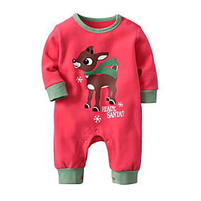 billige Udsalg-Baby Gutt Grunnleggende julenissen Trykt mønster / Jul Trykt mønster Langermet Bomull Endelt Hvit