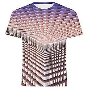 preiswerte Herrenmode-Herrn Solide / 3D - Street Schick / Übertrieben T-shirt Druck Regenbogen
