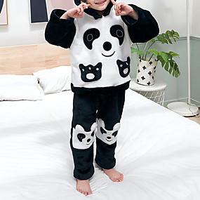 preiswerte Unterwäsche & Socken für Babys-2pcs Baby Mädchen Schwarz & Weiß / Panda Einfarbig Tiermuster / Patchwork / Grundlegend Schlafanzüge Schwarz