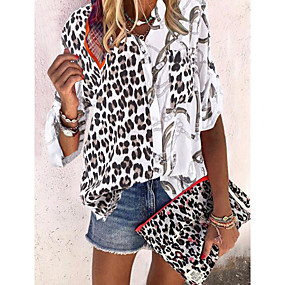 cheap Winter Clothing-Women's Causal Daily Blouse - Leopard Black / V Neck