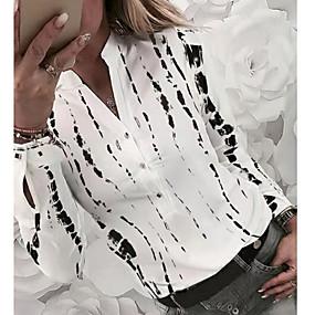 cheap Winter Clothing-Women's Daily Shirt - Geometric V Neck Yellow