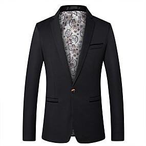 رخيصةأون ملابس خارجية-رجالي شق الصدر للذروة سترة لون سادة أسود / نبيذ / كاكي XXL / XXXL / XXXXL