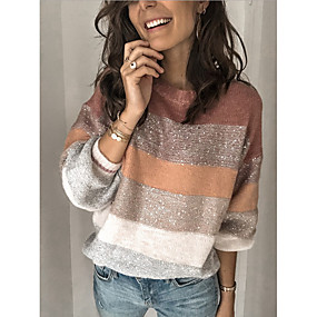 cheap Women's Sweaters-Women's Striped Long Sleeve Pullover Sweater Jumper, Round Neck Blushing Pink S / M / L