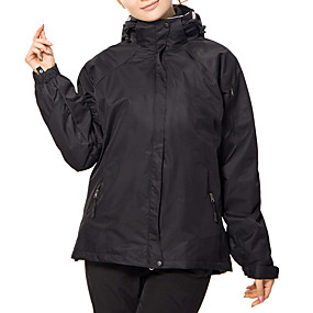 cheap Under €49-Women's Hiking 3-in-1 Jackets Hiking Jacket Patchwork Winter Outdoor Thermal / Warm Waterproof Windproof UV Resistant 3-in-1 Jacket Softshell Jacket Top Skiing Camping / Hiking Leisure Sports Black
