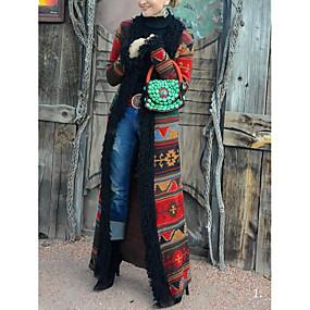 preiswerte Damenbekleidung-Damen Alltag Lang Mantel, Geometrisch Umlegekragen Langarm Polyester Rote
